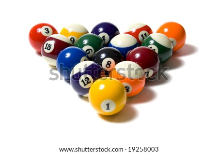 A group of colorful pool balls on a white background - stock photo