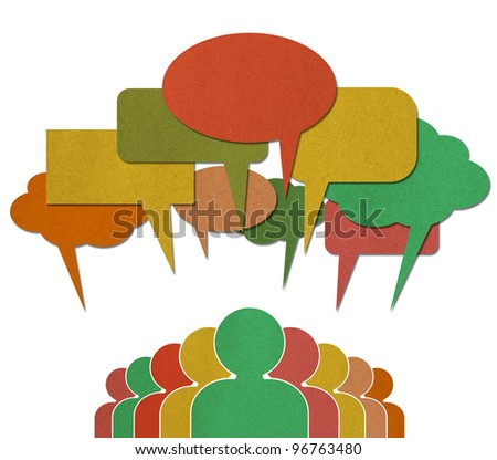 A group of Communication Network Social Media Business People talk in colorful speech bubbles