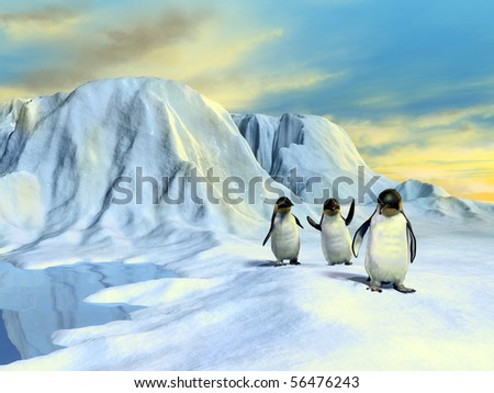A group of cute penguins walking in an arctic landscape. Digital illustration.