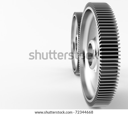 a group of 3d maded gears on a grey background.