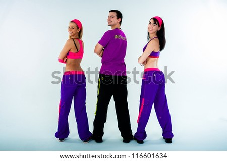 A group of dance instructors on isolated white background