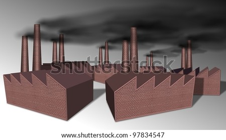 a group of dark brown factories with chimneys / factories