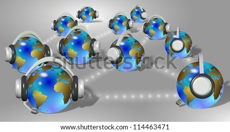 A group of earth globes with headphones communicating with each other / Communication over internet