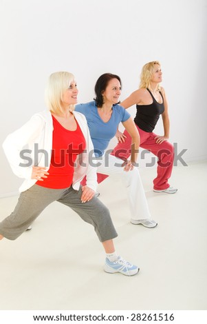 A group of elder women. They're exercising.