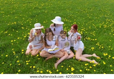 a group of five young girls...