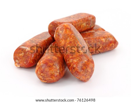 A group of freshly made hot Italian sausage links on a white background.