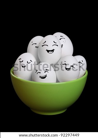 A group of funny and happy egg smiley collection in bowl