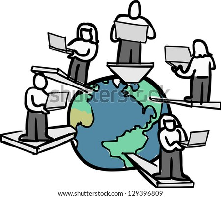 A group of global consultants working from different location.