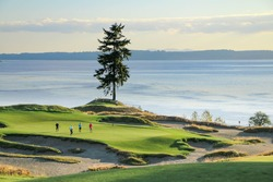 a group of golfers on a beautiful course