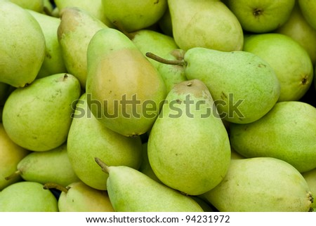 A group of green and fresh pears