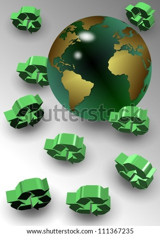A group of green recycle icons around earth globe / Global recycle