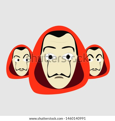 A group of guys with different Expressions, Red Hood and big moustache. Illustration