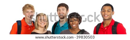 A group of happy multi-racial college students/friends holding backpacks on a white background