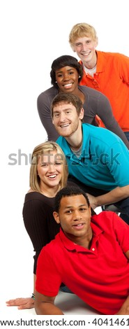 A group of happy multi-racial college students/friends on a white background