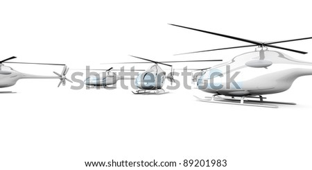 A group of Helicopters. 3D rendered Illustration. Isolated on white.