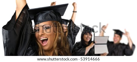 A group of high school or college graduates cheering happily on graduation day.