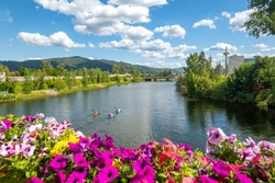 A group of kayakers enjoy a beautiful summer day on Sand Creek River and Lake Pend Oreille in the downtown area of Sandpoint, Idaho, USA