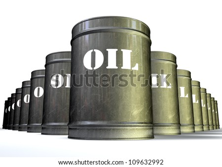 A group of lined up metal oil drums with the white label that says oil