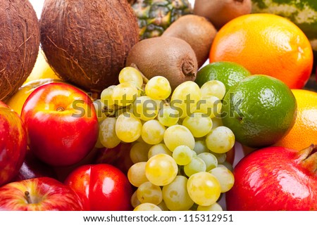 a group of many whole fruits