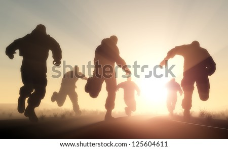A group of men running in from the sun. - stock photo