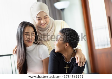 A group of multi ethnic friends, multi racial women with different religions; concept of people with diversity and inclusivity Сток-фото ©