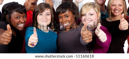 A group of multi-racial college students/friends holding their thumbs up
