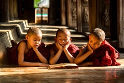 A group of novices in Myanmar are reading book. The lifestyle of a novice are learning.
