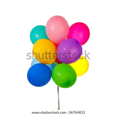 A group of Party balloons on white background with copy space