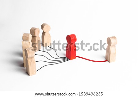 A group of people is trying to contact a person through an intermediary. Press secretary, media and public relations, representing the interests of a person or company. Mediation