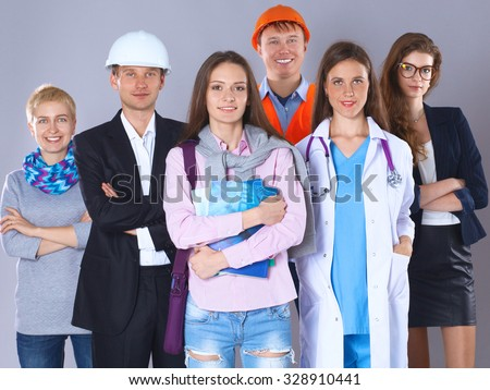 A group of people of different professions. #328910441