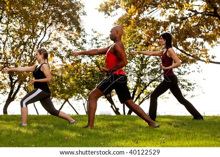 A group of people practicing martial arts in the park - stock photo