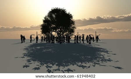 a group of people standing around a tree