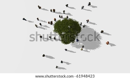 A group of people standing near a big tree