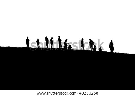A group of peoples silhouettes up on a hill. Isolated on white.