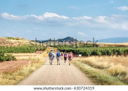 Shutterstock a group of pilgrims walking the camino de santiago along wheat fields and vinyards in la rioja region,  spain