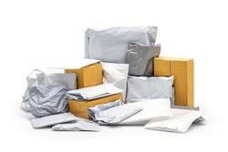a Group of Postal Pack; plastic bag, paper envelope, brown paper box in studio light on the white background. Clipping Paths.