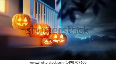 A group of pumpkin Jack O Lanterns decorating a porch on Halloween. 3D illustration.