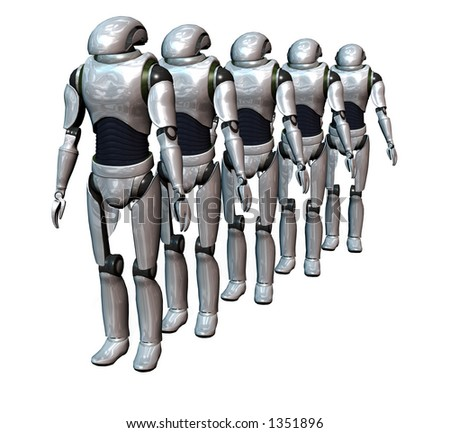a group of robots prepared for an invasion