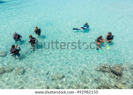 A group of Scuba Diving students have a lesson in shallow crystal clear water of a Tropical Island #492982150