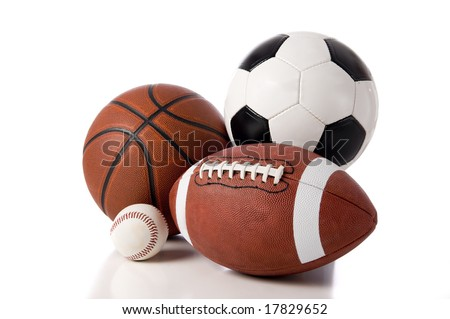 A group of sports balls on a white background, including a baseball, an American football, a basketball, and a soocer ball