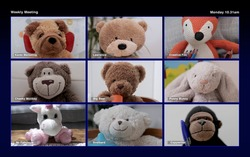 a group of teddy bear soft toys in online virtual remote business meeting