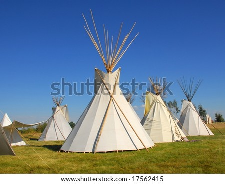 A group of tee pees.