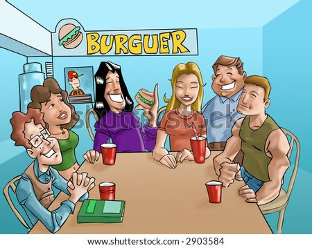 a group of teens eating a burgers and drinking beverages in the fast food