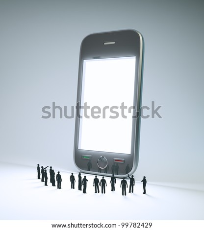 A group of tiny people looking at a smartphone screen