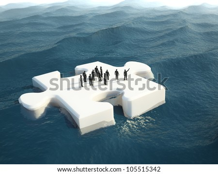 A group of tiny people on a puzzle piece shaped ice float