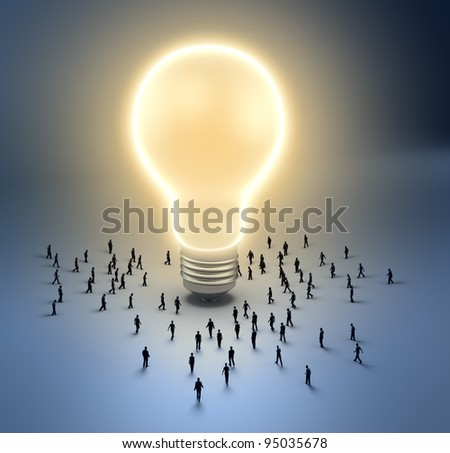 A group of tiny people walking towards a light bulb