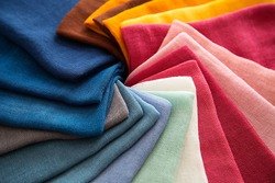 A Group of Twisted Colored Gauze Fabric, Textile Palette, Holiday, Interior, Top View, Horizontal