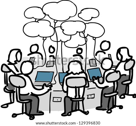 A group of users connected through cloud services. - stock photo