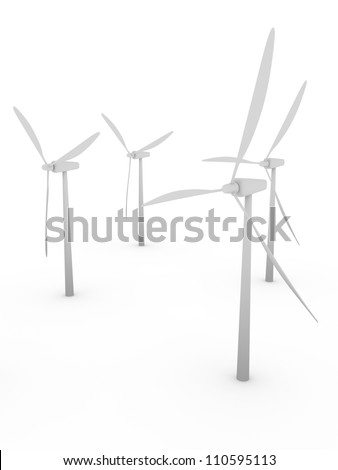A group of wind mills in white. Electric energy generators