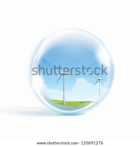 A group of wind turbines or windmills inside a glass sphere